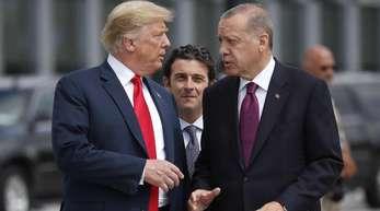 Haben zahlreiche Streitpunkte zu besprechen: US-Präsident Donald Trump (l) und sein türkischer Kollege Recep Tayyip Erdogan.