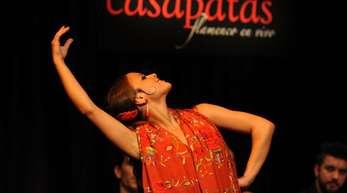 Die Flamenco-Tänzerin Macarena Ramirez in Madrids populärem Flamenco-Tempel Casa Patas.