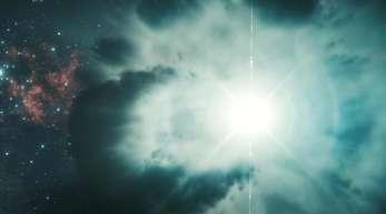 Ein sterbender Stern explodiert und sendet einen Gamma-Ray Burst, einen Gammastrahlenblitz, aus.