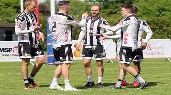Sven Muckle, Stefan Konprecht, Oliver Späth, Matthias Lilienthal und Vinicius Tavares Goulart (v. l.) gehen mit dem FBC Offenburg nach einer starken Vorbereitung zuversichtlich in die Bundesliga-Feldrunde.