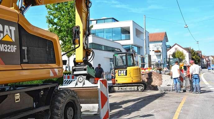 Die Stadt Oberkirch lässt Versorgungsleitungen in der Oberen Hauptstraße verlegen.