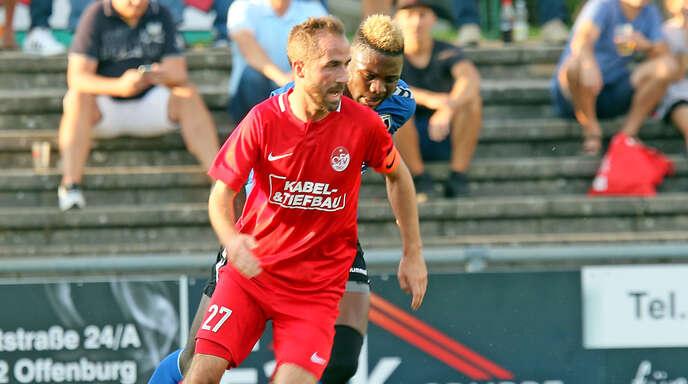 Marco Petereit erzielte in der Nachspielzeit den OFV-Siegtreffer in Pfullendorf.