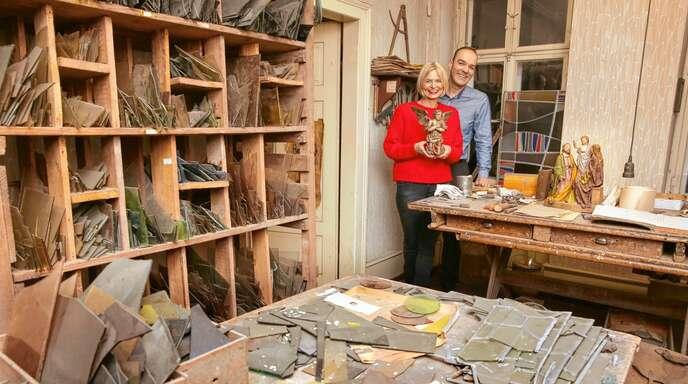 Zum Wohnhaus von Martina und Uwe Vogel gehört auch das Atelierhaus von Karl Vollmer. Hier hat der Glaskünstler bis zu seinem Tod 1975 gearbeitet.