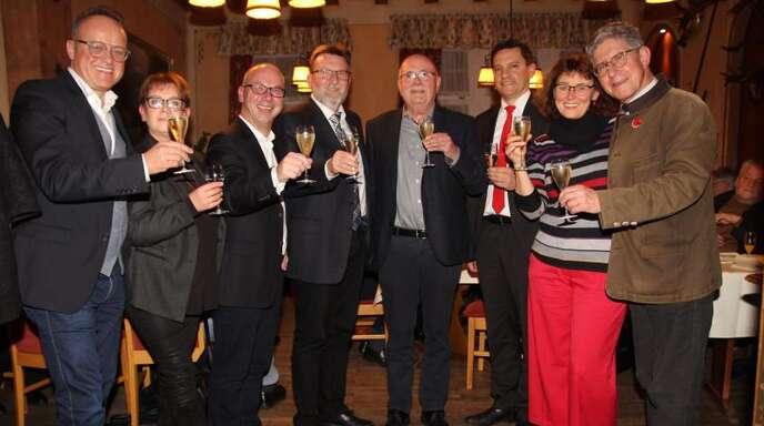 Von links: Karl-Rainer Kopf, Heike Wieseke, Mark Rinderspacher, Roland Hirsch, Walter Caroli, Johannes Fechner, Stefanie Kremling-Deinert und Wolfgang G. Müller.