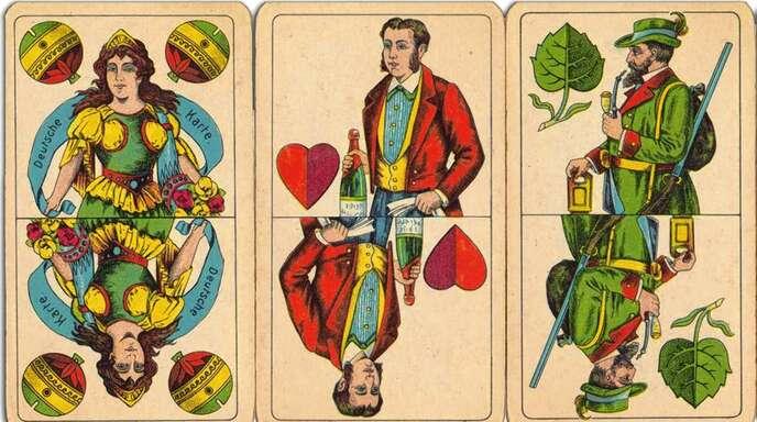Aus der Zeit um 1930 stammen diese Spielkarten von den »Vereinigten Altenburger und Stralsunder Spielkartenfabriken«, produziert wurde der Karton ab 1934 in Oberkirch.