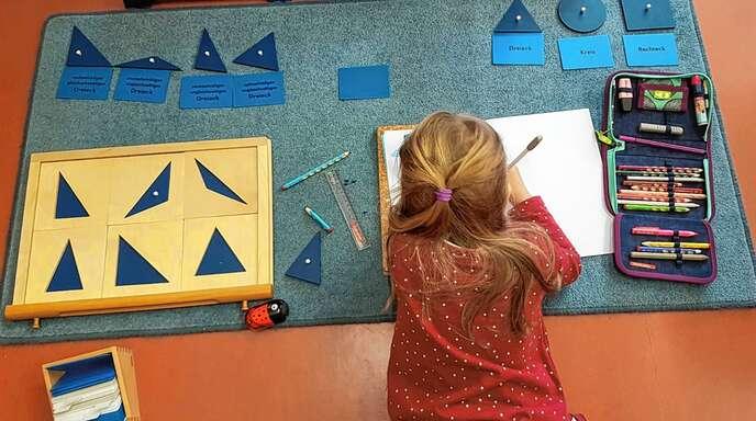 Auch in der Ortenau bevorzugen viele Eltern Schulen, in der individuelles Lernen möglich ist. In der so genannten Freiarbeit beschäftigt sich diese Schülerin einer Montessori-Grundschule mit geometrischen Figuren.