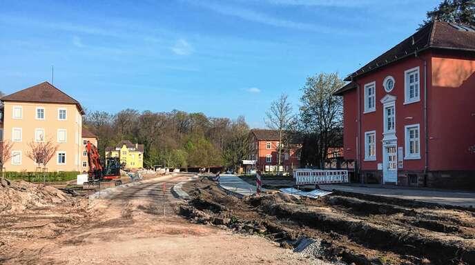 Die Bauarbeiten in der Karl-Hergt-Straße in Achern kommen gut voran.