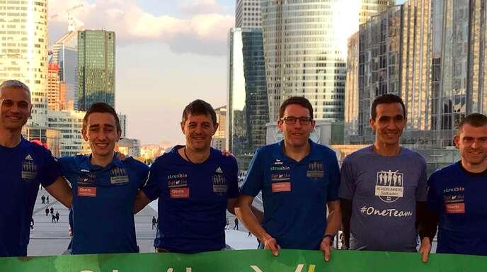 Das Gruppenbild zeigt (von links): Joachim Schlaier, Jonas Müller, Dominique Schahl, Sören Hetzel, Bachir Benouaret, Daniel Zahn. Es fehlt Torsten Wöhrle.