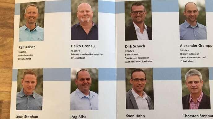 Männer unter sich: Wahlprospekt der Freien Wählergemeinschaft Diersheim.