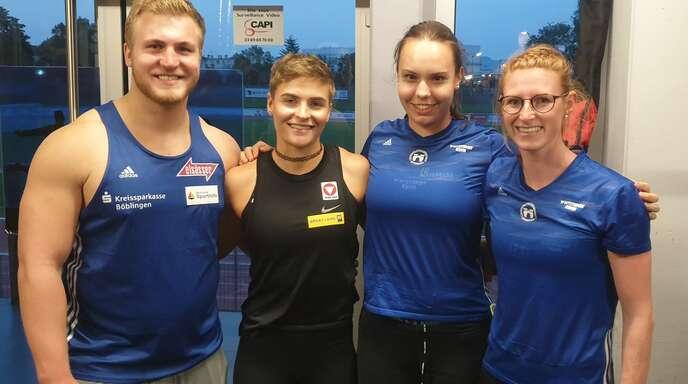 Simon Bayer (Sindelfingen), Victoria Hudson (Österreich), Leonie Hunker und Ines Ruf (v. l.) starteten im französischen St. Louis.