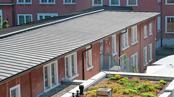 Vielfältige Pflanzenarten finden sich auf dem begrünten Dach des Illenau Arkaden Bistros.