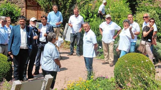 Das »Pfarrmättle« in Ulm – Maria Vogt und Otto Maier informierten die Mitglieder der Bewertungs-Kommission über die Vielfalt der 130 Kräuter, die hier wachsen.