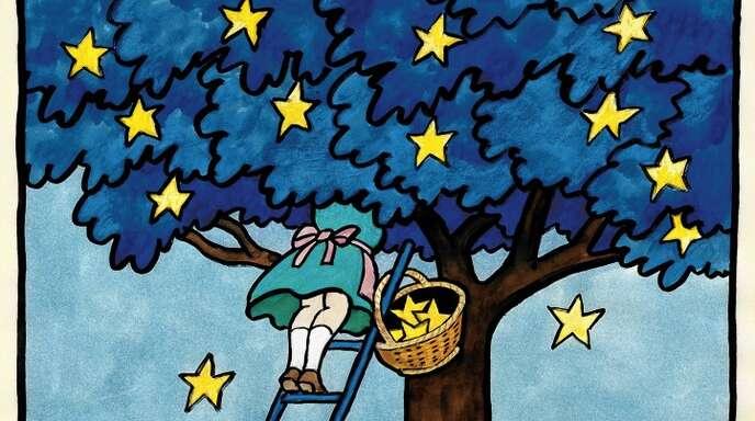 Das Poster mit der Sternensammlerin hat Tomi Ungerer 1994 zum 40. Jahrestag der Europäischen Kulturkonvention des Europarates gestaltet.