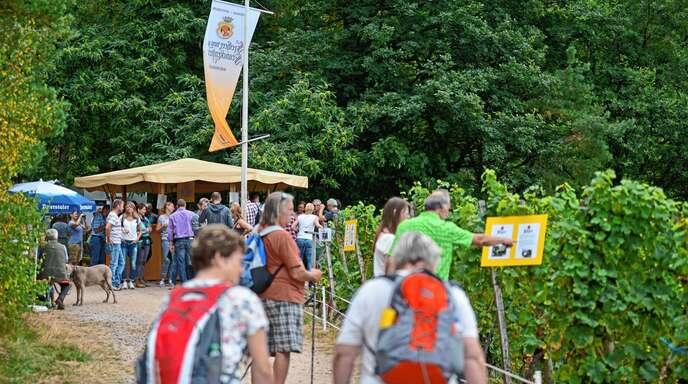 An sieben Ständen können sich die Besucher des Weinwandertags durch die Weine der örtlichen Betriebe probieren. Es gibt einige Besonderheiten zu entdecken.