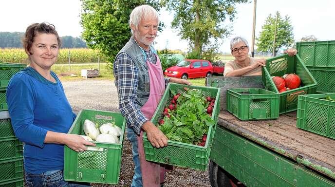 Solavie, der Verein für Solidarische Landwirtschaft – hier Marita Rinklin (von links), Gärtner Carlos Gartzke und Marlene Werfl beim Ackereinsatztag – kann neue Mitglieder aufnehmen, die einen Erntekorb beziehen wollen.
