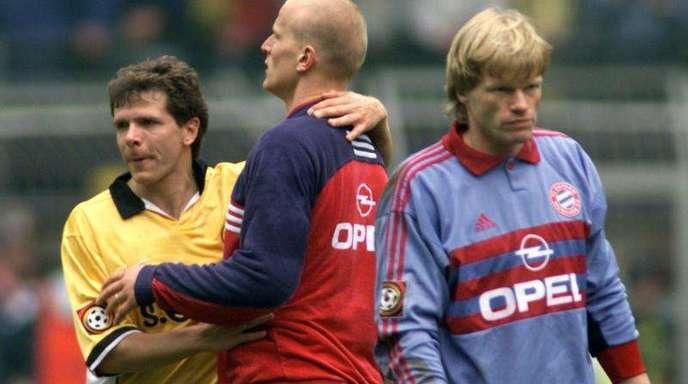 Archiv: Die Duelle zwischen Bayern und Dortmund sind legendär - schon zu Zeiten Andy Möllers, Carstens Jankers und Oliver Kahns.