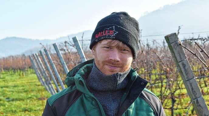 Frank Erb kommt aus Oberschopfheim, ist 32 Jahre alt, verheiratet und erwirtschaftet auf dem elterlichen Hof 22 Hektar Rebflächen und 60 Hektar Ackerland.