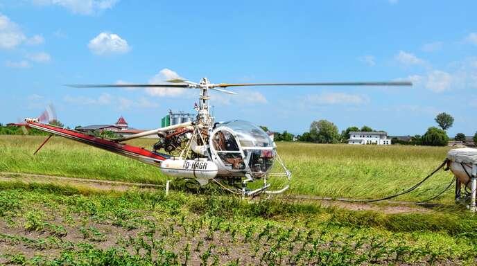 Die Hubschrauber der Schnakenbekämpfer von KABS.