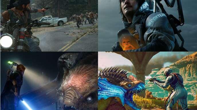 Days Gone, Death Stranding, Star Wars: Jedi Fallen Order und The Outer Worlds (von links nach rechts) – vier Titel, die in der Redaktion 2019 getestet wurden.
