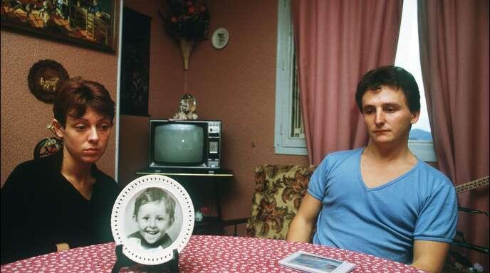 Christine und Jean-Marie Villemin, die Eltern des ermordeten Grégory, im Jahr 1984 in ihrem Wohnzimmer.
