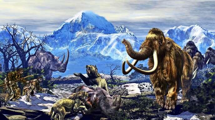 So könnte es ausgesehen haben, als noch Wollnashörner (links) und Mammuts (rechts) durch die Lande streiften. Illustration: imago/StockTrek Images