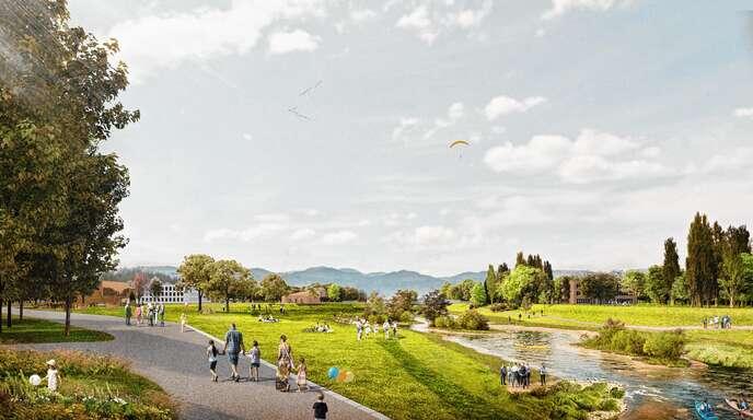 Herzstück der Offenburger Planung ist der Kinzigpark auf dem jetzigen OFV-Gelände, der in die renaturierte Kinzig und den grünen Hochschulcampus (im Hintergrund) mündet.