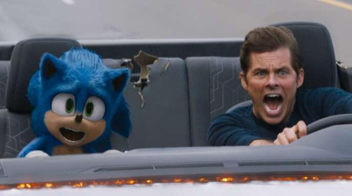 Sonic der Wunderigel und sein neuer Menschenkumpel (James Marsden) sind etwas zu schnell unterwegs.