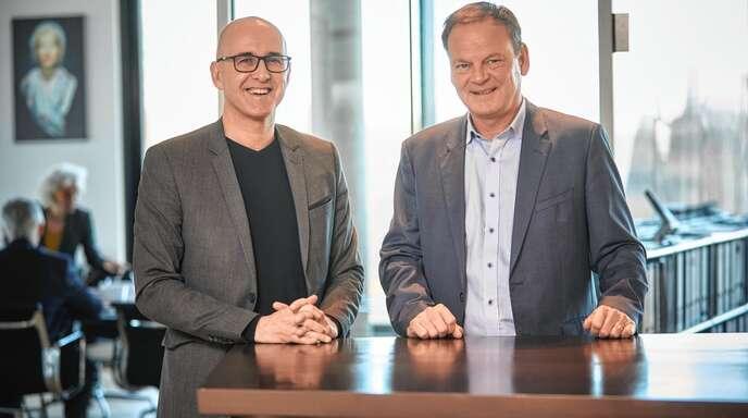 Frédéric Bierry, Präsident des Départements Bas-Rhin (links), und Landrat Frank Scherer tauschten sich über die grenzüberschreitende Zusammenarbeit aus.