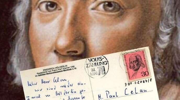 Im Literaturmuseum der Moderne feiert man Hölderlins 250. Geburtstag unter anderem mit diesem Postkartengruß aus der letzten Marbacher Jubiläumsausstellung an Paul Celan. Weitere Eindrücke finden Sie in unserer Bildergalerie.