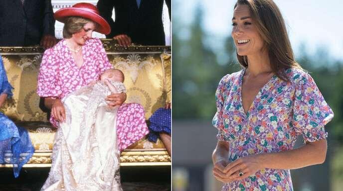 Zwischen diesen beiden Blümchenkleidern liegen 38 Jahre: Prinzessin Diana (links) im Jahr 1982 und Herzogin Kate 2020.