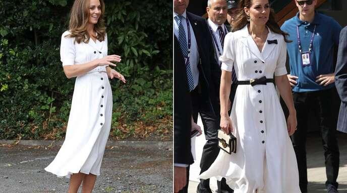 Ein Kleid, zwei Anlässe: Herzogin Kate trug dieses Hemdblusenkleid schon in Wimbledon (rechts) und jetzt bei einem Termin in Sheffield.