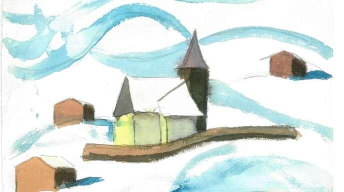 Malerei von Hermann Hesse: der Schweizer Wintersportort Arosa im Schnee.