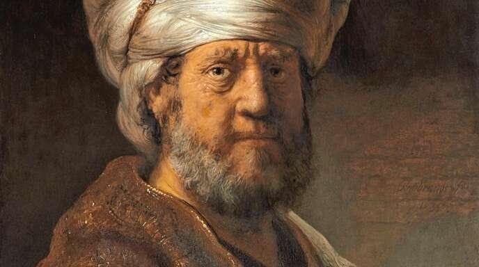 """Rembrandts Porträt """"Brustbild eines Mannes in orientalischer Kleidung""""."""