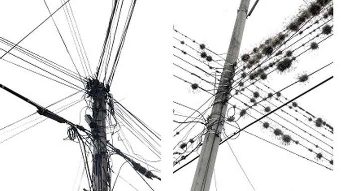 Frank Paul Kistner hat auf der ganzen Welt nach kunstvollem Kabelsalat Ausschau gehalten und sehr unterschiedliche Formationen fotografiert, wie diese zwei Bilder zeigen.