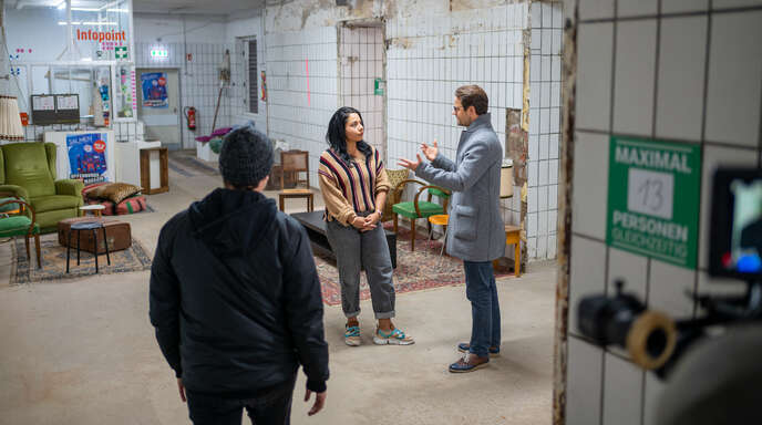 Szene vom Dreh des Neujahrsfilms mit OB Steffens.