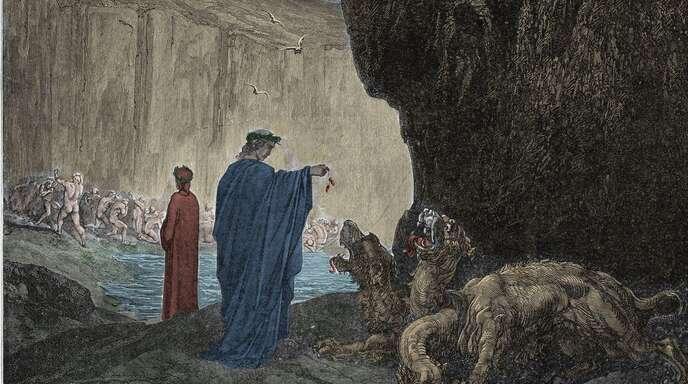 Bitte die Tiere nicht füttern, das gilt auch im dritten Höllenkreis. Illustration von Gustave Doré.