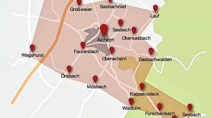 Das Einzugsgebiet der Kirchlichen Sozialstation Bernhard von Baden in Achern. Mit dazu gehören darüber hinaus die Gemeinden Gamshurst und Ottenhöfen.