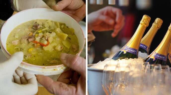 Zwei Seiten der Gesellschaft: für die Verlierer Suppenküche – für die Gewinner Schampus