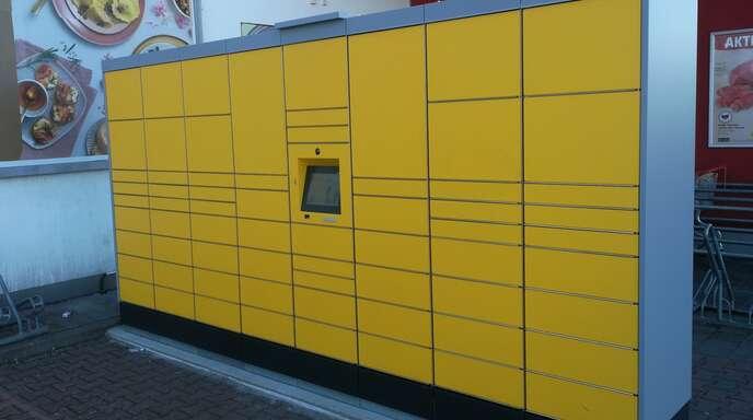 """Die neue DHL-Packstation am """"Rewe""""-Markt in Goldscheuer"""