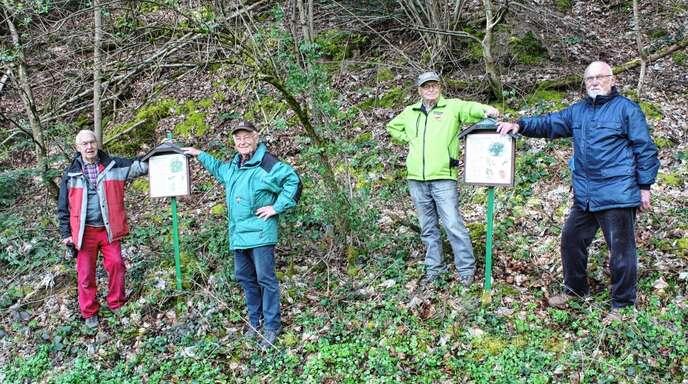 Berthold Brucher (von links), Horst Kopp, Albert Neumaier und Josef Hipfel machten aus dem Waldlehrpfad durch die Neubeschilderung wieder zu einem tollen Naturerlebnis.