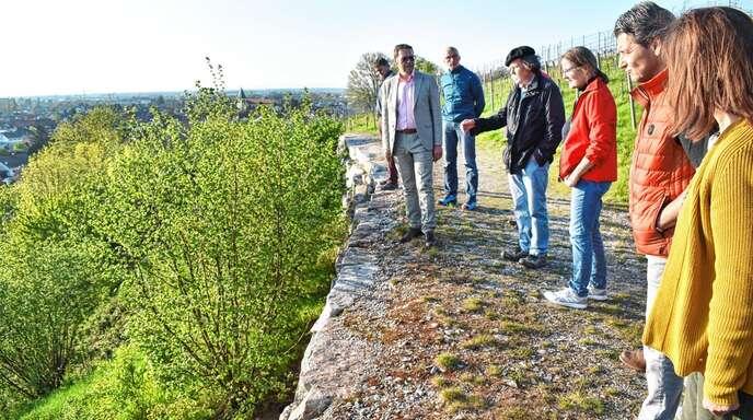 Am Steilhang der Oberen Bergstraße: Der Ortsrat diskutiert mit dem Biologen Alfred Winski (Mitte) eine Reduzierung des Pflegeaufwands.