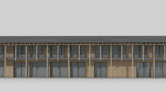 So soll der neue Hofstetter Kindergarten, von der Bach-Seite aus, aussehen.