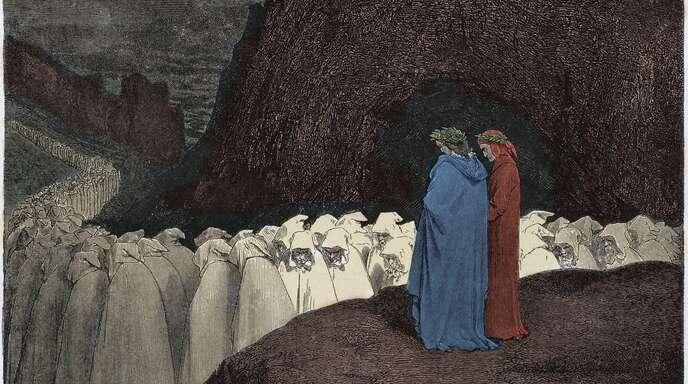 Die Teilnehmer dieser Prozession wirken fromm – aber davon sollte man sich nicht täuschen lassen. Illustration von Gustave Doré zum Canto 23 des Inferno.