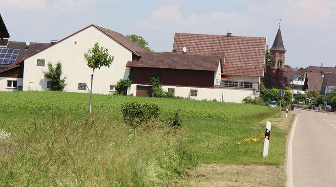 Auf der linken Straßenseite vor dem Ortseingang Stadelhofen entsteht bis zur Zufahrt zum Sportplatz Mührigwald das Gewerbegebiet Petersacker.