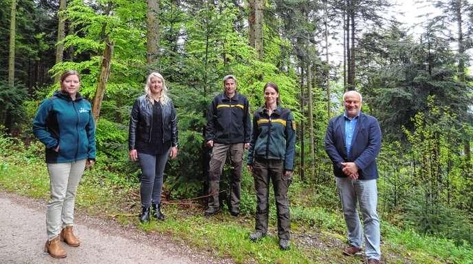 Neue Zuständigkeiten im Gemeindewald (von links): Yvonne Chtioui (Forstbezirksleiterin Oberkirch), Rechnungsamtsleiterin Stefanie Panther, Theo Blaich (Forstrevier Achertal), Berenike Geiger (Forstrevier Seebach) und Bürgermeister Reinhard Schmälzle.