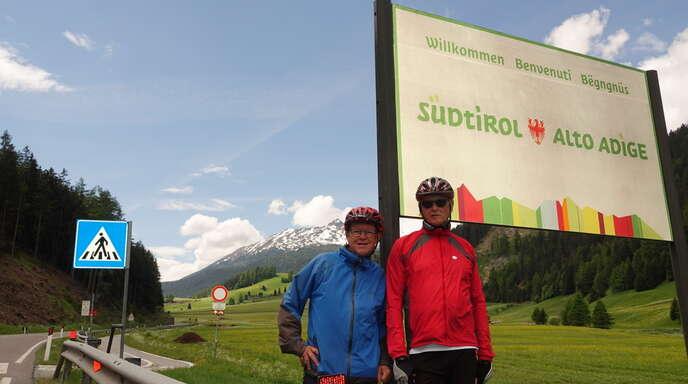 Die beiden Radler haben Südtirol erreicht.