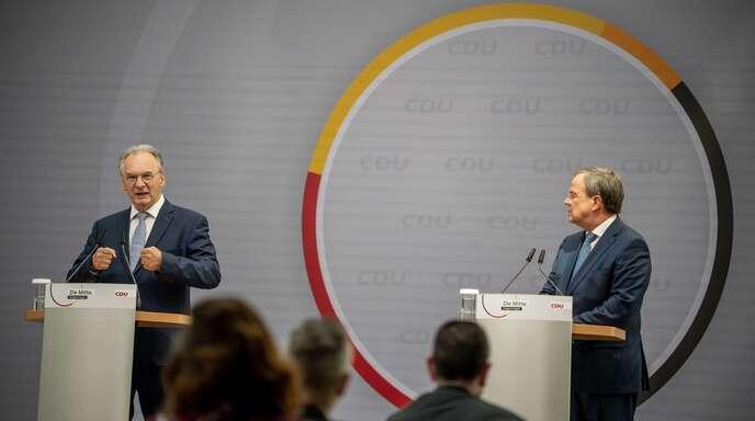 Schluss mit Unterwerfungsgesten: Reiner Haseloff (links) und Armin Laschet am Tag nach der Landtagswahl in Sachsen-Anhalt.
