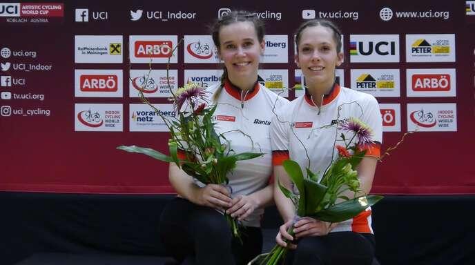 Weltcup-Gesamtsieger 2018 und 2019: Gutachs Duett Sophie Marie Wöhrle/Caroline Wurth (rechts) beim jüngsten Weltcup-Auftritt Anfang März 2020 in Österreich.