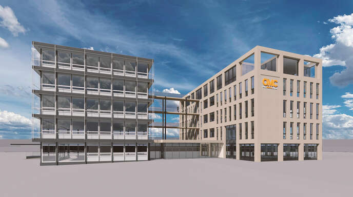 Am 1. Oktober sollen die Bauarbeiten zur Sanierung und Umgestaltung des ehemaligen Stahlbau-Müller Verwaltungsgebäudes (links) beginnen. Rechts entsteht ein Neubau. Das Ensemble, als Geschäfts- und Gesundheitshaus geplant, bietet Raum für 18 bis 20 Mieter.