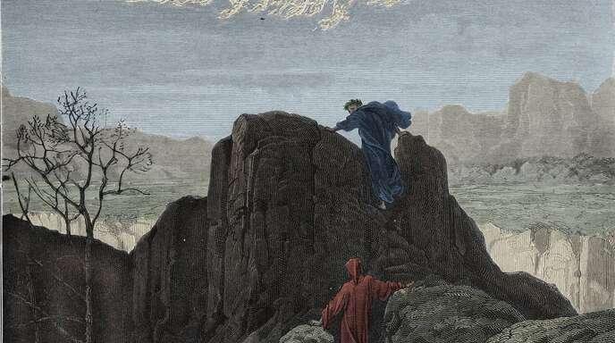 Es geht aufwärts, und die Luft ist hier eindeutig besser als in der Hölle – anstrengend ist es aber doch. Illustration zum Canto 4 des Purgatorio von Gustave Doré.